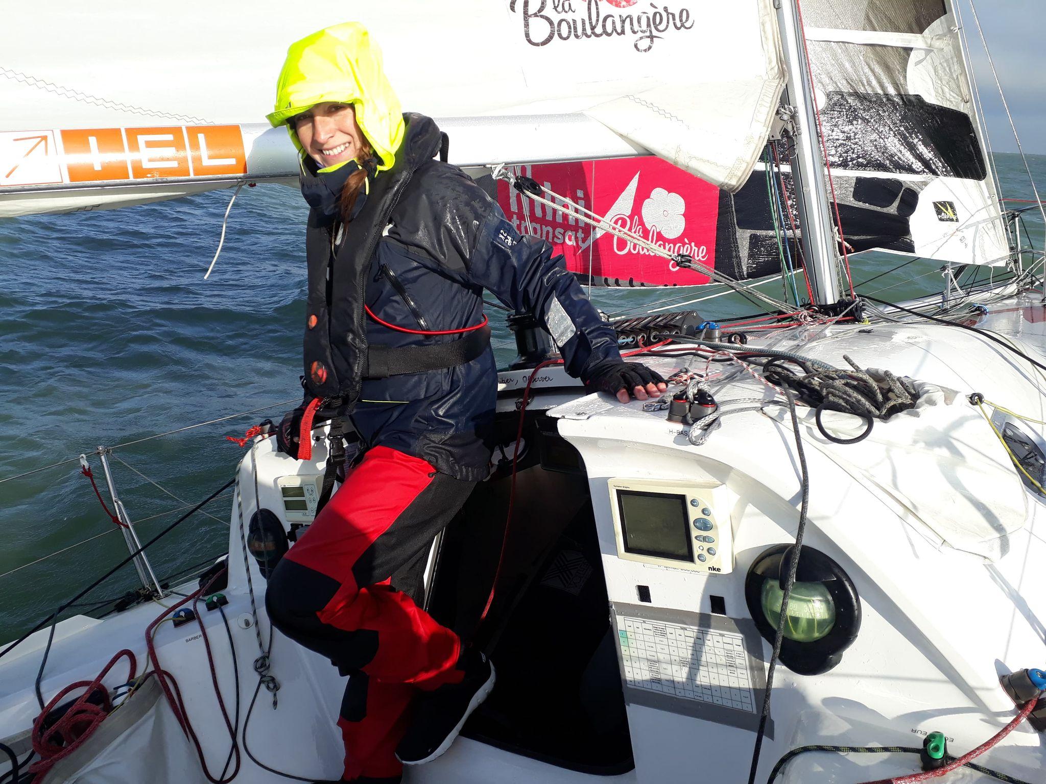 Hélène Clouet sur son bateau