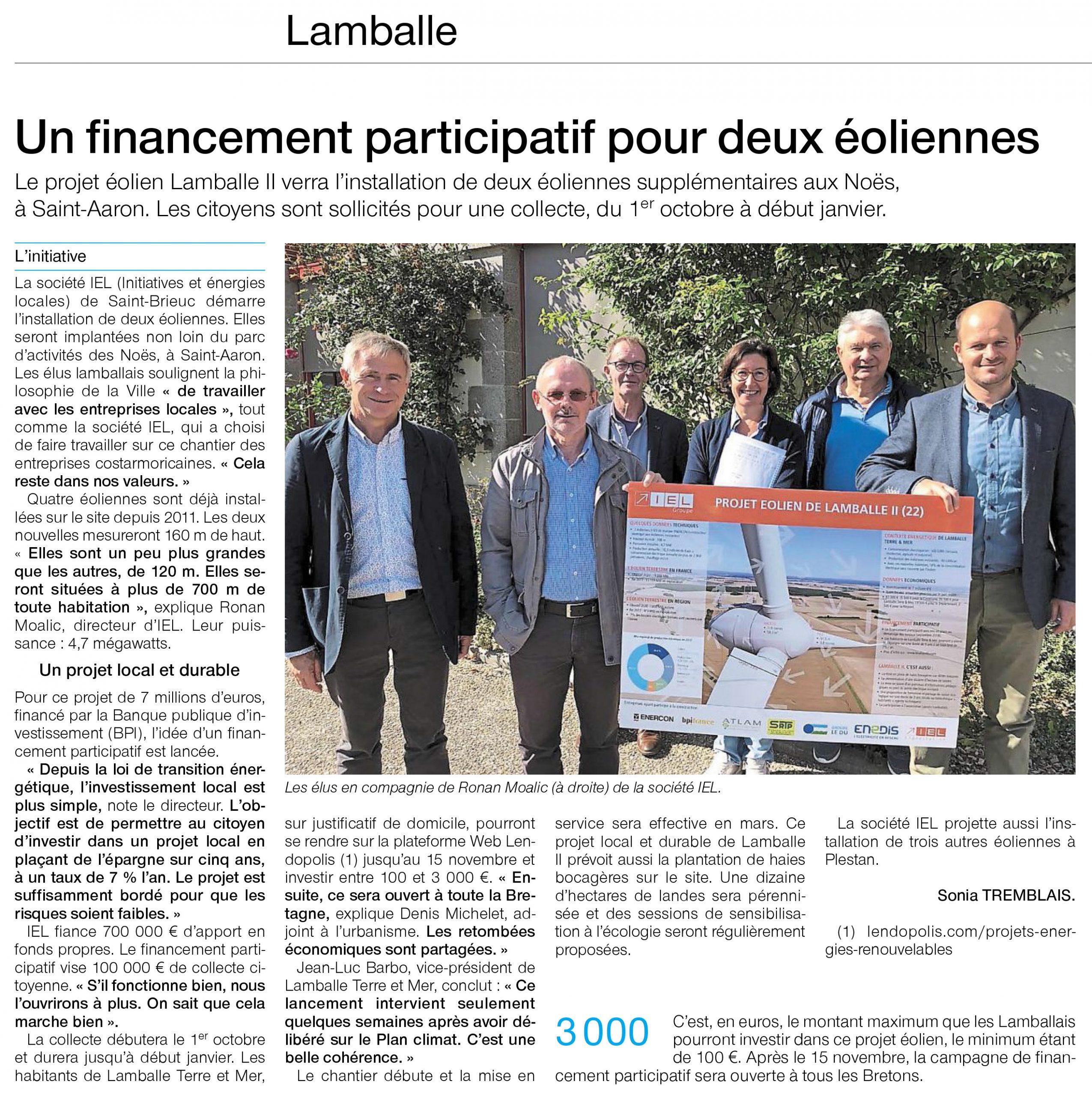 article de presse sur l'investissement participatif pour un projet éolien mené à Lamballe par IEL